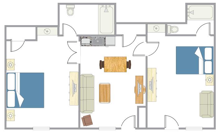 Floor Plan - Two Bedroom Suite